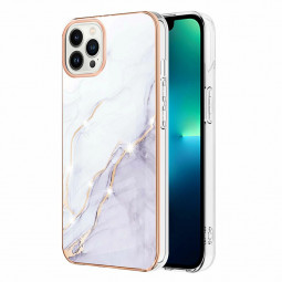 TPU Slim Phone Case Electroplated Frame Marble Pattern for iPhone 13 Pro Max - White