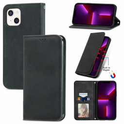 Magnetic PU Leather Flip Stand Wallet Card Case Cover for iPhone 13 Mini - Black