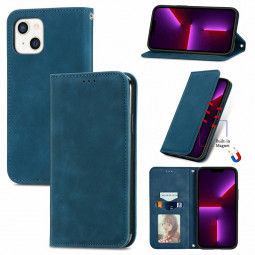 Magnetic PU Leather Flip Stand Wallet Card Case Cover for iPhone 13 - Blue