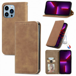 Magnetic PU Leather Flip Stand Wallet Card Case Cover for iPhone 13 Pro - Brown