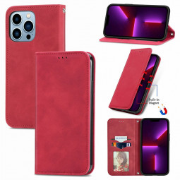 Magnetic PU Leather Flip Stand Wallet Card Case Cover for iPhone 13 Pro Max - Red