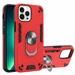 Armor Heavy Duty Dual Layer Ring Shockproof Hard Protective Case for iPhone 13 Pro Max - Red