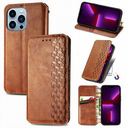 Geometric Pattern Magnetic PU Leather Wallet Card Case Cover for iPhone 13 Pro - Brown