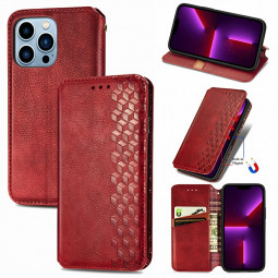 Geometric Pattern Magnetic PU Leather Wallet Card Case Cover for iPhone 13 Pro Max - Red