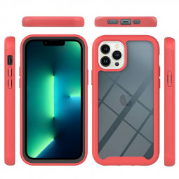 360 Degree Full Body Slim Protective Case with Front Frame for iPhone 13 Pro - Red