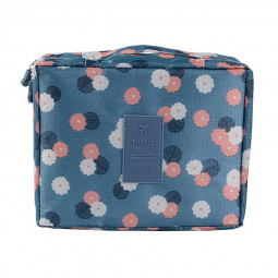Oxford Cloth Outdoor Multifunctional Cosmetic Bag - Blue Flowers