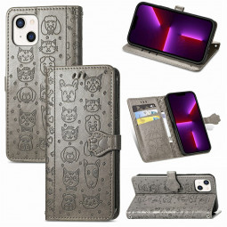 PU Leather Dogs and Cats Cute Wallet Card Phone Cover for iPhone 13 Mini - Grey