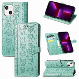 PU Leather Dogs and Cats Cute Wallet Card Phone Cover for iPhone 13 - Green