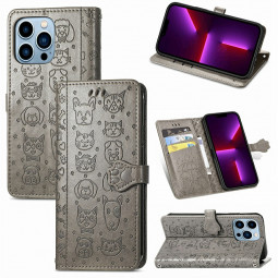 PU Leather Dogs and Cats Cute Wallet Card Phone Cover for iPhone 13 Pro Max - Grey