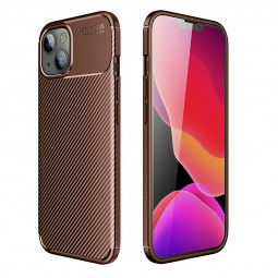 Fibre Pattern PC Combination Protective Back Case for iPhone 13 Mini - Brown