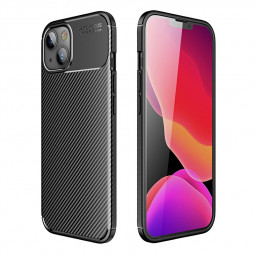 Fibre Pattern PC Combination Protective Back Case for iPhone 13 - Black
