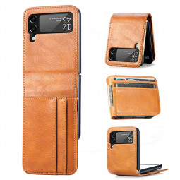 PU Leather Case with Card Slot for Samsung Galaxy Z Flip 3 5G - Yellow