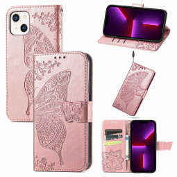 Floral Butterfly Embossed Protective Cover PU Leather Case for iPhone 13 - Rose Gold