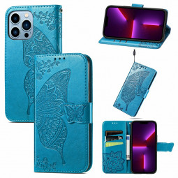 Floral Butterfly Embossed Protective Cover PU Leather Case for iPhone 13 Pro - Blue