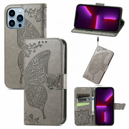 Floral Butterfly Embossed Protective Cover PU Leather Case for iPhone 13 Pro Max - Grey