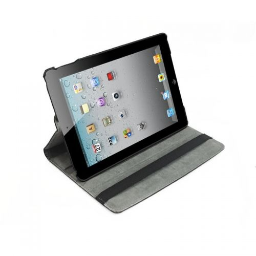 Pure Color Two Fold Stand Case Cover for iPad 5(Air)---Black
