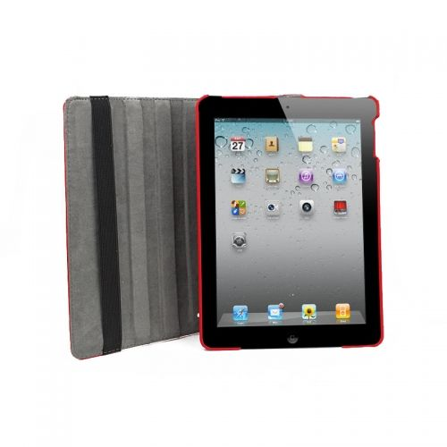 Pure Color Two Fold Stand Case Cover for iPad 5(Air)---Red