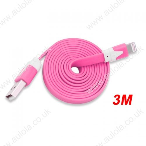 3M Flat Noodle 8 Pin USB Data Charger Cable for iPhone X 8 7 Plus 6 5 - Pink