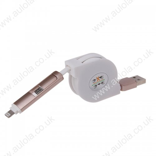2-in-1 Stretchable Data Charging Cable for iPhone 5/6 Samsung - White