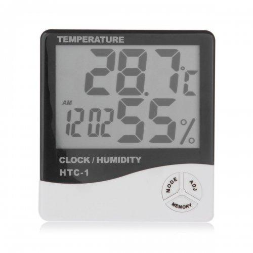 Indoor LCD Clock Digital Humidity Hygrometer Thermometer Temperature Meter