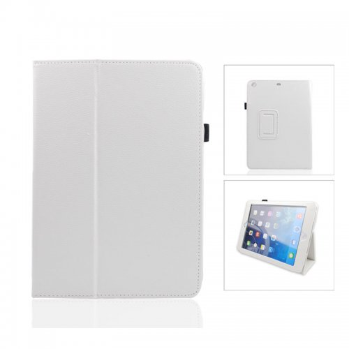 Pure Color Two Fold Stand Case Cover for iPad 5(Air)---White