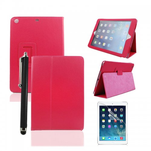 Rose Red Two Fold Stand Case Cover for iPad 5(Air) + Protective film + Stylus