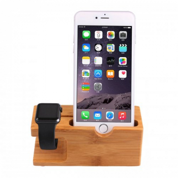 Natural Bamboo Wood Charger Dock Stand Holder For Apple Watch iPhone