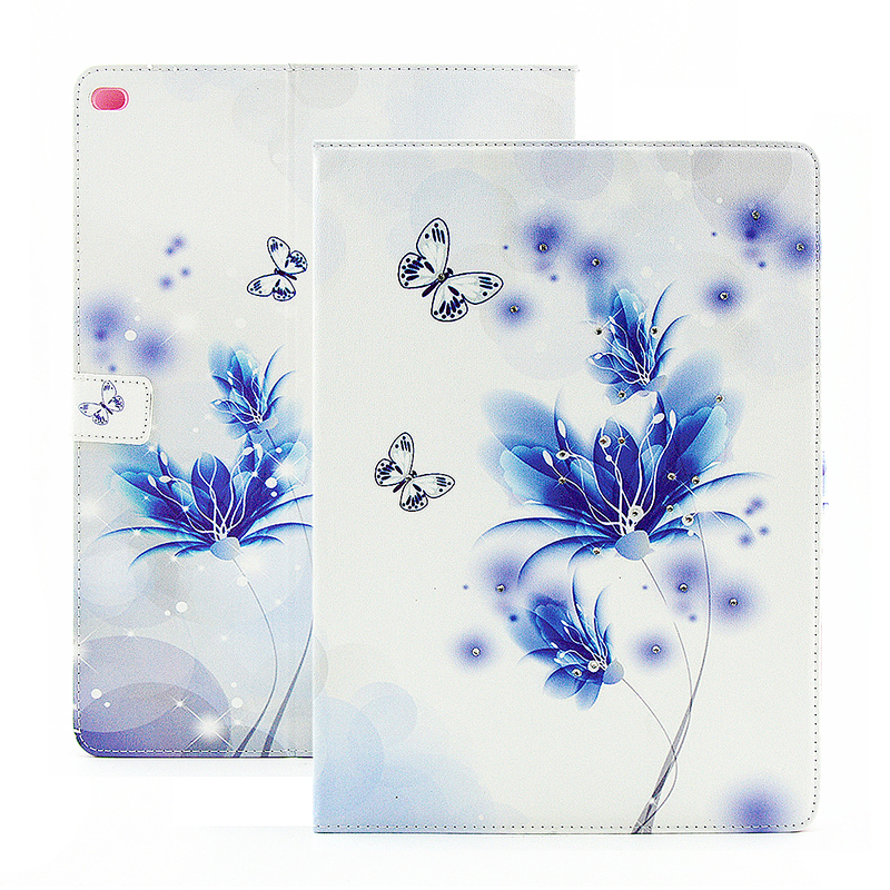 Bling Crystal Magnetic Flip Stand Leather Case Cover Shell for iPad Mini 4 - Fancy Blue
