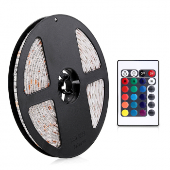 300x Bulbs 3528 RGB Colorful LED Light Flex String Strip 24W With 24 Key Remote Control