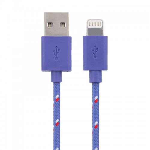 1M Knitted Connector to USB Charge & Data Cable for iPhone 5/6/7/8/X - Purple