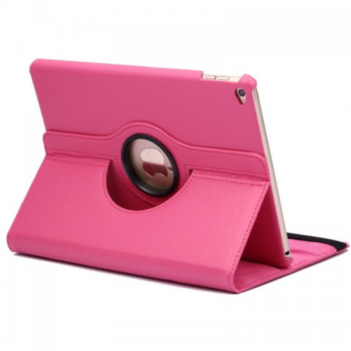 360 degree Rotating PU Leather Flip Stand Case Cover Skin for iPad Air 2(iPad 6) - Rose Red