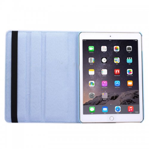 360 degree Rotating PU Leather Flip Stand Case Cover Skin for iPad Air 2(iPad 6) - Light Blue