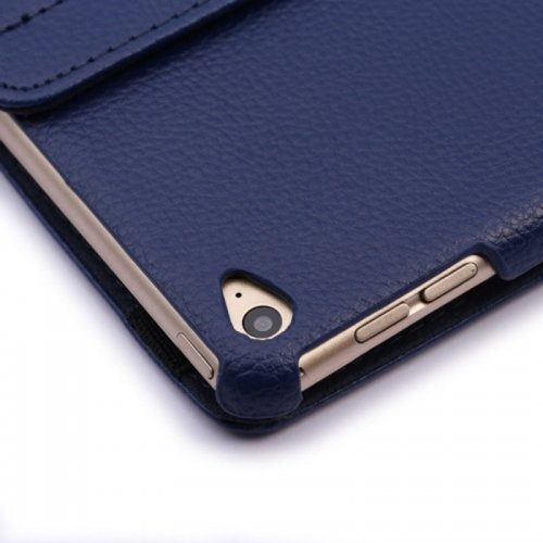 360 degree Rotating PU Leather Flip Stand Case Cover Skin for iPad Air 2(iPad 6) - Dark Blue