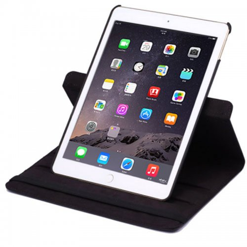 360 degree Rotating PU Leather Flip Stand Case Cover Skin for iPad Air 2(iPad 6) - Black