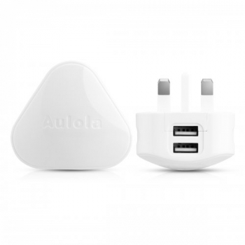 TH19 High Output 2.4A Dual USB UK Plug AC Power Adapter- White