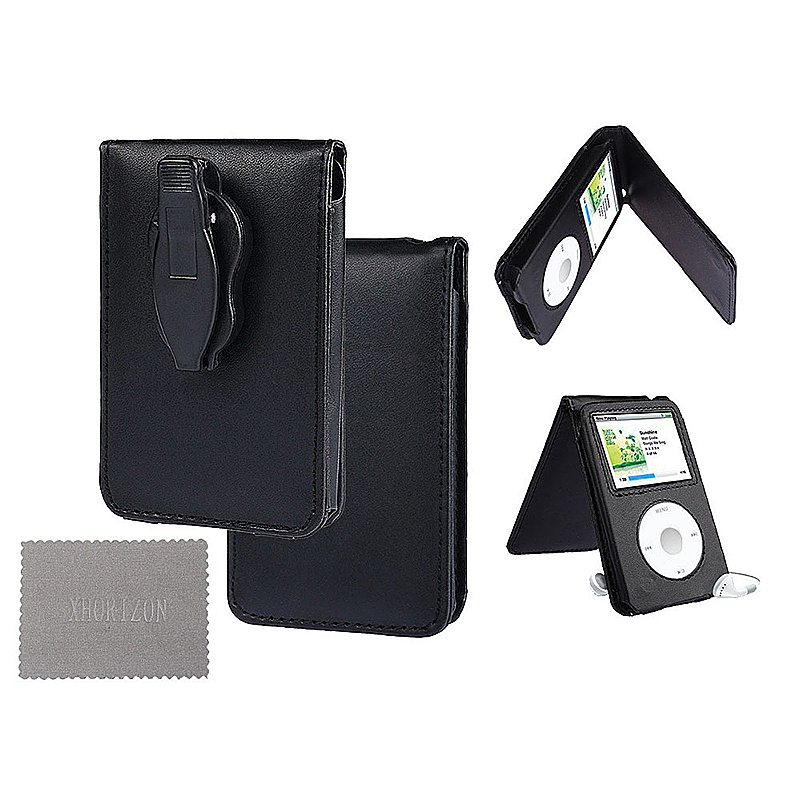 Fashion Classic PU Leather Case Cover with Belt Clip for iPod - Black