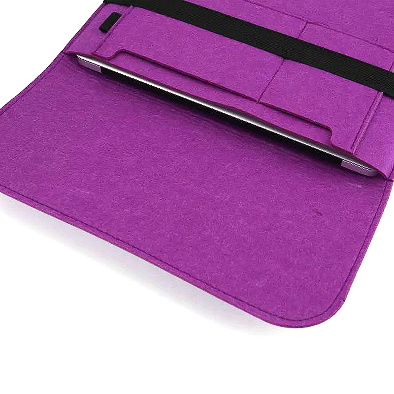 13 Inch Fashion Horizontal Open Felt Sleeve Laptop Case Cover Bag for MacBook - Purple