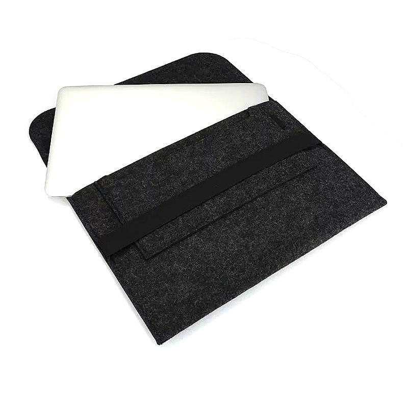 15 Inch Fashion Horizontal Open Felt Sleeve Laptop Case Cover Bag for MacBook - Black