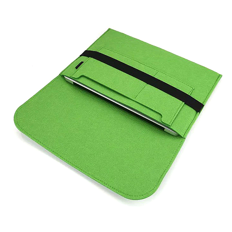 15 Inch Fashion Horizontal Open Felt Sleeve Laptop Case Cover Bag for MacBook - Green