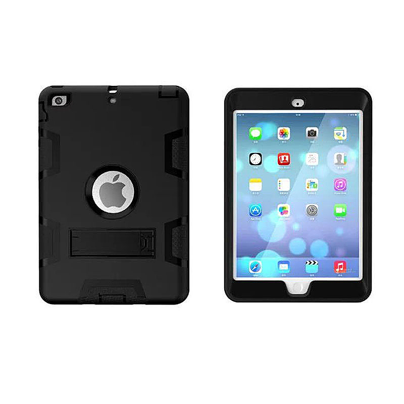 Robot Armor kickstand Shockproof Protective Case Cover for iPad Mini3 - Black + Black