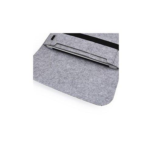 11 Inch Fashion Horizontal Open Felt Sleeve Laptop Case Cover Bag for MacBook - Grey