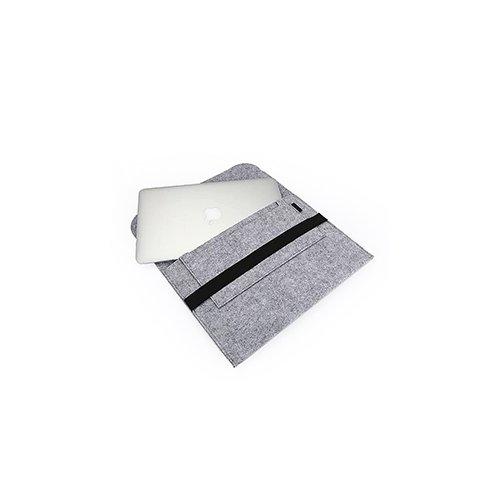 15 Inch Fashion Horizontal Open Felt Sleeve Laptop Case Cover Bag for MacBook - Grey