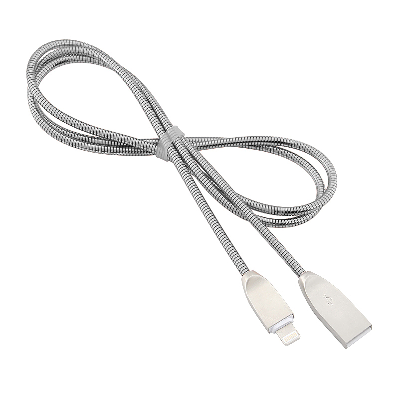 8 Pin Stainless Steel Apple Spring Woven Cable for iPhone iPad - Silver