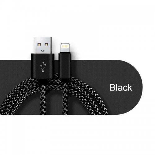 Apple iPhone Knit Braid Cable Sync Data Transfer Charging Cable - Black