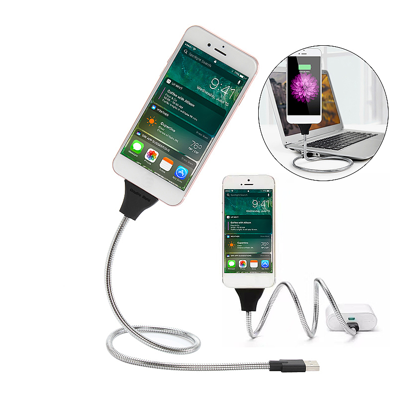 Flexible 8 Pin Cable Hose Holder Dock Stand for iPhone iPad - Silver