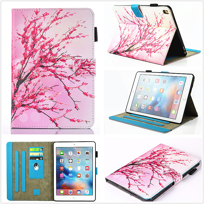 Multifunctional PU Leather Smart Cover Stand Case for 9.7 inch iPad Pro - Peach Blossom