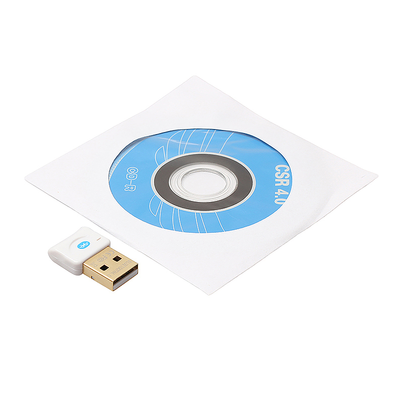 USB Wireless Bluetooth 4.0 Transmitter CSR Dongle Adapter for Laptop - White