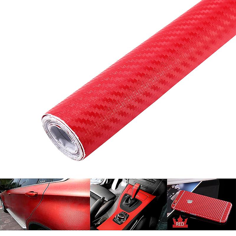 200 * 60cm 3D Carbon Fiber Vinyl Car Body Wrapping Fiber Sticker - Red