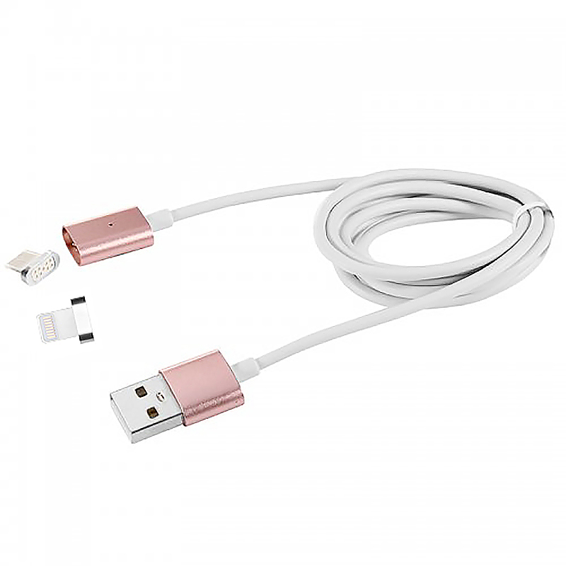 Android V8/8Pin Adapter Magnetic Charge Data Cable for Huawei iPhones - Rose Gold
