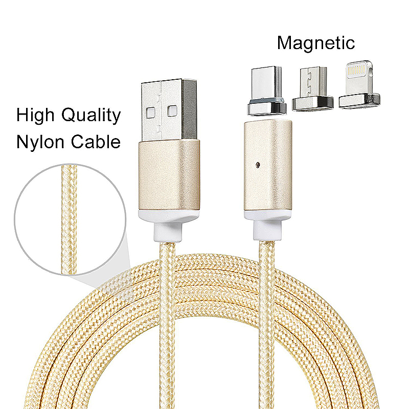 Micro USB Type-C 8Pin Magnetic Lead Cord Knit Braided Charging Cable For Samsung Xiaomi HTC iPhones - Gold